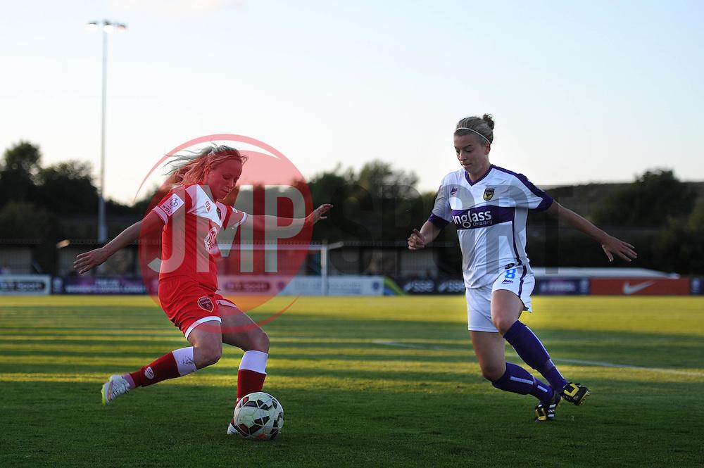 Nadia Lawrence of Bristol Academy is closed down by Oxford United's Kat Nutman - Mandatory byline: Dougie Allward/JMP - 07966386802 - 27/08/2015 - FOOTBALL - Stoke Gifford Stadium -Bristol,England - Bristol Academy Women FC v Oxford United Women - FA WSL Continental Tyres Cup