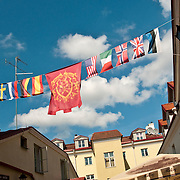 International Flags above a courtyard in Tallinn, Estonia