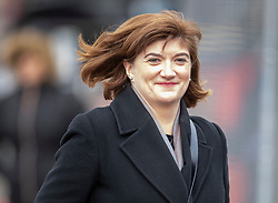© Licensed to London News Pictures. 13/02/2020. London, UK. Culture Secretary Nicky Morgan smiles as she arrives at Parliament. A cabinet re-shuffle is taking place today - the Prime Minister's first since the election. Photo credit: Peter Macdiarmid/LNP