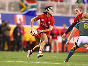 Canada player Nathan Hirayama looks to pass the ball in the game Canada vs South Africa during the USA Sevens Rugby Series at Sam Boyd Stadium, Las Vegas, USA on 2 March 2018. Picture by Ian  Muir.