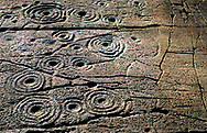 Prehistoric cup and ring mark carved stone rock art outcrop at Cairnbaan in the Kilmartin Valley, Argyll, west Scotland, UK