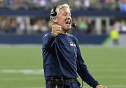 Aug 8, 2019; Seattle, WA, USA; Seattle Seahawks head coach Pete Carroll celebrates after a touchdown in the fourth quarter against the Denver Broncos at CenturyLink Field. The Seahawks defeated the Broncos 22-14.