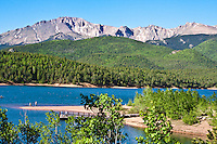 14,110 ft. Pikes Peak towers over Crystal Creek Reservoir.  Colorado.