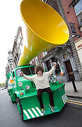 No fee for Repro: 17/06/2012 .Andrew Hurley pictured as Top bookie Paddy Power sent its record breaking Vuvuzela truck onto the streets of Dublin on Sunday morning to help rally Ireland fans once last time around the Boys in Green ahead of their final Euro 2012 match against Italy tomorrow night.  Ireland fans can show their support by following the Twitter conversation #HONKforVICTORY! Picture: Andres Poveda Sharppix