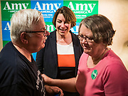 25 MAY 2019 - IOWA FALLS, IOWA: US Senator AMY KLOBUCHAR (D-MN), talks to a couple after a campaign event in Iowa Falls. Sen. Klobuchar is touring Iowa this weekend to support her bid to be the Democratic nominee in 2020 for the US Presidency. Iowa traditionally hosts the the first election event of the presidential election cycle. The Iowa Caucuses will be on Feb. 3, 2020.         PHOTO BY JACK KURTZ
