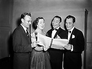 """Radio Review Special  at Theatre Royal.Joe Loss (second from right) Norman Metcalfe (far left).23/10/1953..Joshua Alexander """"Joe"""" Loss LVO OBE (22 June 1909 - 6 June 1990) was a British musician and founder of the Joe Loss Orchestra...Norman Metcalfe was a musician from Trinity who played the musical clues..."""