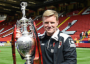Bournemouth manager Eddie Howe celebrates after winning the Sky Bet Championship title during the Sky Bet Championship match between Charlton Athletic and Bournemouth at The Valley, London, England on 2 May 2015. Photo by David Charbit.