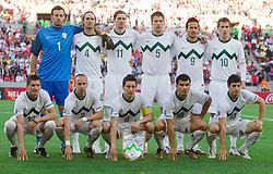 Group photo of team of Slovenia, 1st line (from L): Andraz Kirm of Slovenia, Miso Brecko of Slovenia, Robert Koren of Slovenia, Aleksander Radosavljevic of Slovenia and Bojan Jokic of Slovenia, 2nd line: Goalkeeper of Slovenia Samir Handanovic, Marko Suler of Slovenia, Milivoje Novakovic of Slovenia, Bostjan Cesar of Slovenia, Zlatan Ljubijankic of Slovenia and Valter Birsa of Slovenia  during the 2010 FIFA World Cup South Africa Group C Third Round match between Slovenia and England on June 23, 2010 at Nelson Mandela Bay Stadium, Port Elizabeth, South Africa.  (Photo by Vid Ponikvar / Sportida)