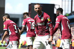 Aston Villa's Conor Hourihane (centre) celebrates scoring his side's first goal of the game