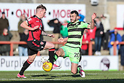 Forest Green Rovers Farrend Rawson(20) during the EFL Sky Bet League 2 match between Morecambe and Forest Green Rovers at the Globe Arena, Morecambe, England on 17 February 2018. Picture by Shane Healey.