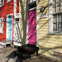 Colorful houses on South Ann Street in the Fell's Point neighborhood of Baltimore, Maryland, USA.