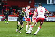 Forest Green Rovers Elliott Frear(17) on the ball during the EFL Sky Bet League 2 match between Stevenage and Forest Green Rovers at the Lamex Stadium, Stevenage, England on 26 December 2019.