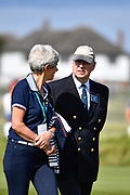 His Royal Highness the Duke of York, Past Captain of the R&A speaks with Dr Maureen Richmond, Lady Captain of the Royal Liverpool Golf Club during the Sunday Singles in the Walker Cup at the Royal Liverpool Golf Club, Sunday, Sept 8, 2019, in Hoylake, United Kingdom. (Steve Flynn/Image of Sport)