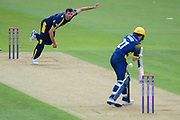 Ian Holland of Hampshire bowling Andrew Salter of Glamorgan during the Royal London One Day Cup match between Hampshire County Cricket Club and Glamorgan County Cricket Club at the Ageas Bowl, Southampton, United Kingdom on 12 May 2017. Photo by David Vokes.