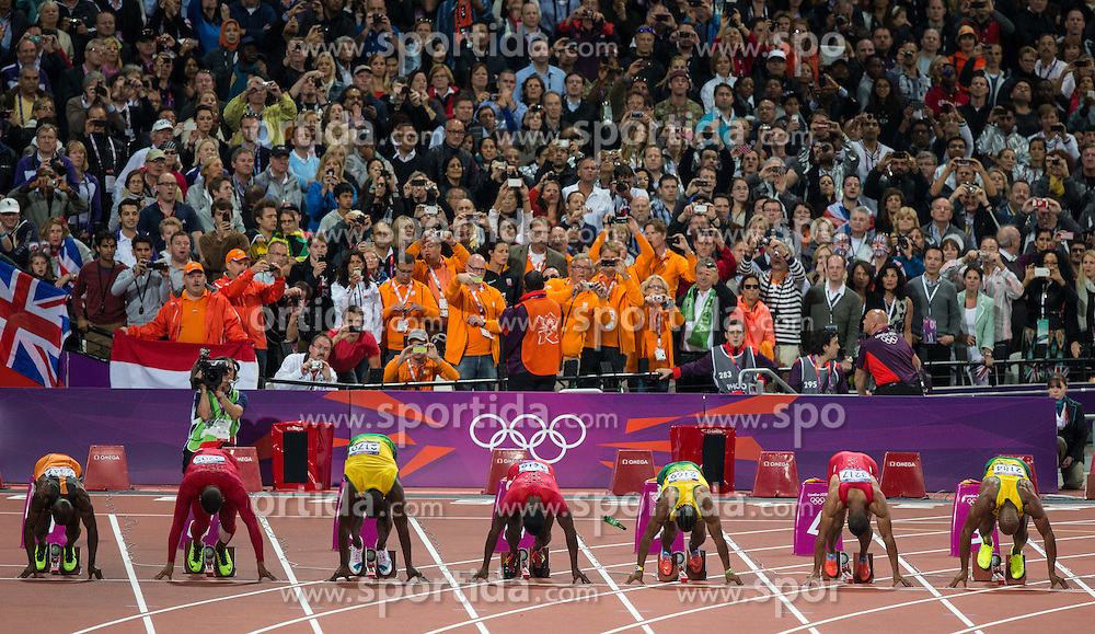 05.08.2012, Olympia Stadion, London, GBR, Olympia 2012, 100m Finale, Herren, im Bild Start 100m Finale  // start of 100m Men during Men 100m Final at the 2012 Summer Olympics at Olympic Stadium, London, United Kingdom on 2012/08/05. EXPA Pictures © 2012, PhotoCredit: EXPA/ Johann Groder