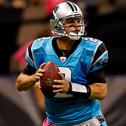October 3, 2010; New Orleans, LA, USA; Carolina Panthers quarterback Jimmy Clausen (2) looks to pass against the New Orleans Saints during the second quarter at the Louisiana Superdome. Mandatory Credit: Derick E. Hingle