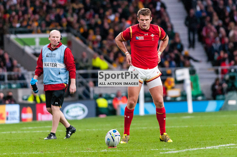 Dan Biggar of Wales goes through his pre-kick routine. Action from the South Africa v Wales quarter final game at the 2015 Rugby World Cup at Twickenham in London, 17 October 2015. (c) Paul J Roberts / Sportpix.org.uk