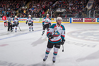 KELOWNA, CANADA - APRIL 14:  Reid Gardiner #23, Gordie Ballhorn #4, Devante Stephens #21 and Dillon Dube #19 of the Kelowna Rockets skate to the bench to celebrate a third period goal against the Portland Winterhawks on April 14, 2017 at Prospera Place in Kelowna, British Columbia, Canada.  (Photo by Marissa Baecker/Shoot the Breeze)  *** Local Caption ***