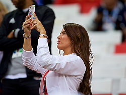 MOSCOW, RUSSIA - Tuesday, July 3, 2018: Rebekah Vardy, wife of England's Jamie Vardy, during the FIFA World Cup Russia 2018 Round of 16 match between Colombia and England at the Spartak Stadium. (Pic by David Rawcliffe/Propaganda)