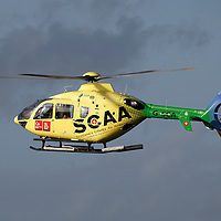 FREE TO USE PHOTOGRAPH....30.10.15<br /> Scotland's Charity Air Ambulance (SCAA) unveiled it's new helicopter at Perth airport this morning a EC135 T2i (pictured) which replaces the Bolkow 105 helicopter which is retiring from service. The new helicopter will increase speed, range, endurance and payload, allow SCAA to fly at night and in cloud.<br /> for further info please contact Maureen Young on 07778 779000<br /> Picture by Graeme Hart.<br /> Copyright Perthshire Picture Agency<br /> Tel: 01738 623350  Mobile: 07990 594431