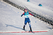 PYEONGCHANG-GUN, SOUTH KOREA - FEBRUARY 15: Jessica Diggins of USA crosses the finishing line during the women's 10k free technique Cross Country competition at Alpensia Cross-Country Centre on February 15, 2018 in Pyeongchang-gun, South Korea. Photo by Nils Petter Nilsson/Ombrello               ***BETALBILD***