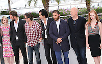 Mia Wasikowska, Jason Clarke, Guy Pearce, Nick Cave, Tom Hardy, John Hillcoat, Jessica Chastain at the Lawless film photocall at the 65th Cannes Film Festival. The screenplay for the film Lawless was written by Nick Cave and Directed by John Hillcoat. Saturday 19th May 2012 in Cannes Film Festival, France.