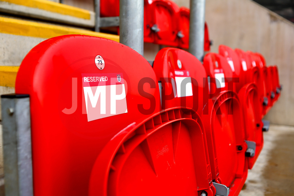 Reserved seats at the Aesseal New York Stadium, home to Rotherham United - Mandatory by-line: Ryan Crockett/JMP - 24/11/2018 - FOOTBALL - Aesseal New York Stadium - Rotherham, England - Rotherham United v Sheffield United - Sky Bet Championship