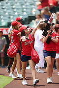 ANAHEIM, CA - JULY 20:  Members of the Angels Strike Force fire up the fans before the Los Angeles Angels of Anaheim game against the Seattle Mariners at Angel Stadium on Sunday, July 20, 2014 in Anaheim, California. The Angels won the game 6-5. (Photo by Paul Spinelli/MLB Photos via Getty Images)