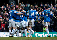 Photo: Glyn Thomas.<br />Birmingham City v Sunderland. The Barclays Premiership. 25/02/2006.<br />Birmingham's Emile Heskey (3rd, L) is mobbed by teammates after scoring his side's opening goal.