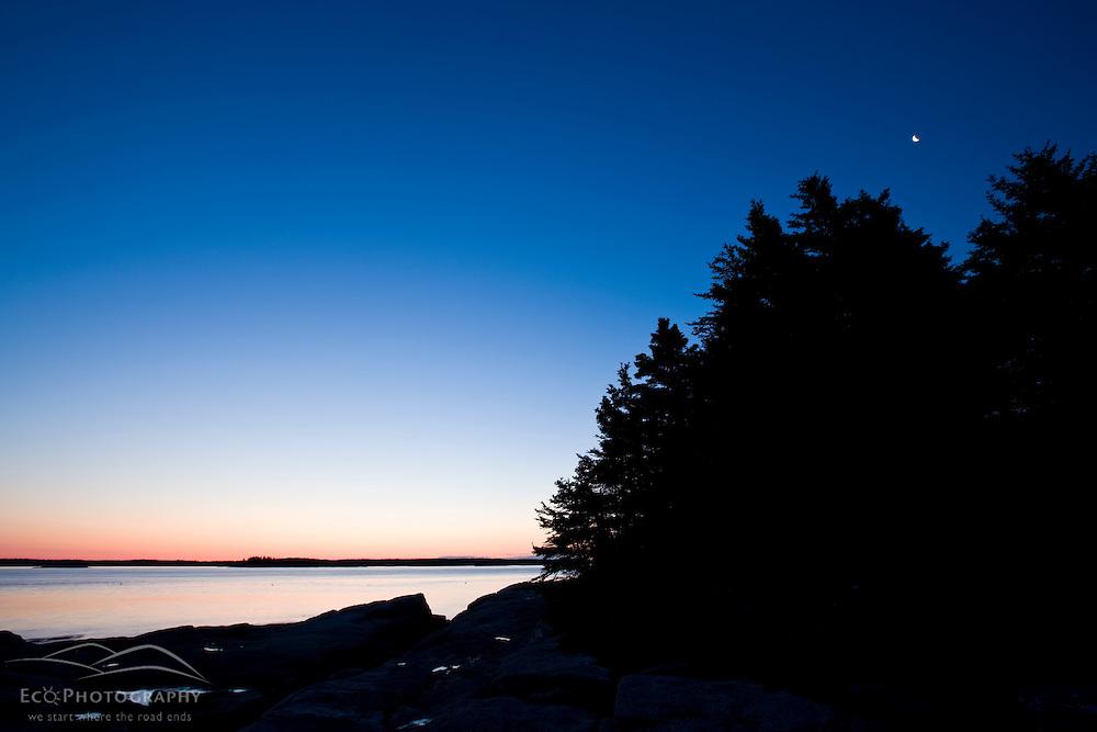Dawn on the coast of Maine's Great Wass Island near Jonesport. Nature Conservancy preserve.