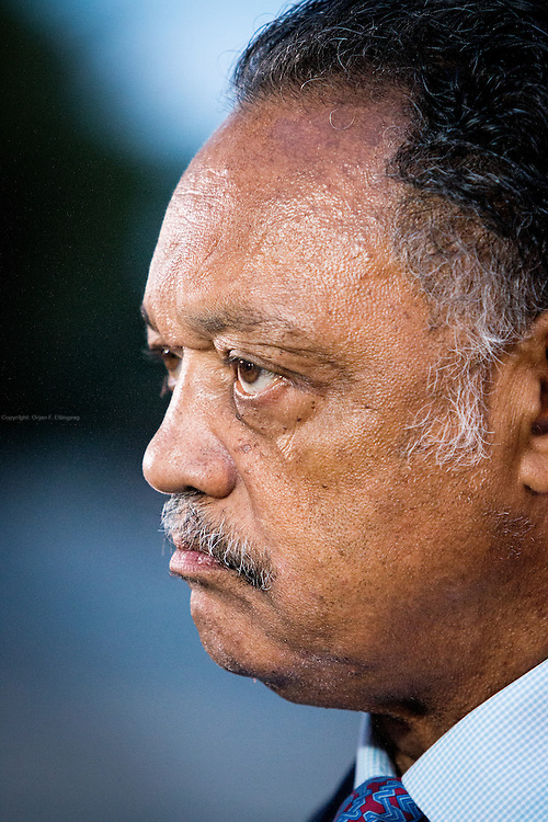 Civil Rights activist Jesse Jackson talks to media at the debate. The Democrate and Republican nominees for US President, Hillary Rodham Clinton and Donald John Trump, met on Sep. 26th for the first head to head Presidential Debate at the Hofstra University in Long Island.