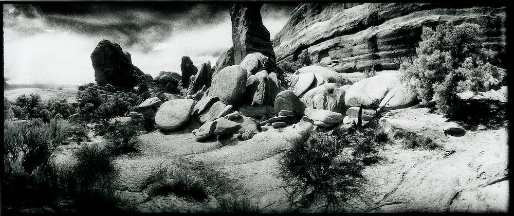 Near The Dark Angel, Arches National Park.  black & white infra red panorama