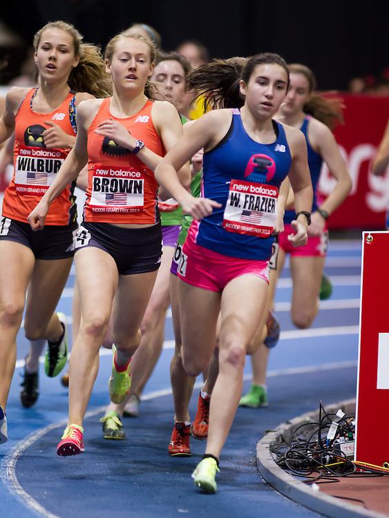 New Balance Indoor Grand Prix track meet: Girls One Mile Junior, Frazier, Brown