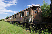 Strasshof, Austria.<br /> Triebwagentage (railcar days) at Das Heizhaus - Eisenbahnmuseum Strasshof, Lower Austria's newly designated competence center for railway museum activities.<br /> Decaying wooden carriages.