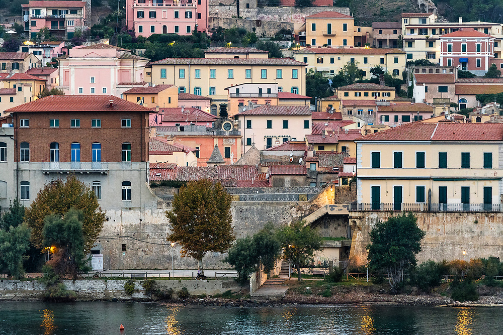 View of the port town of Portoferraio, Elba, Livorno, Italy.
