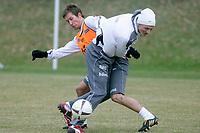 Fotball<br /> Norge trener i Tyskland foran landskampen mot Sør-Afrika<br /> Frankfurt<br /> 26.03.2009<br /> Foto: Alfred Harder, Digitalsport<br /> NORWAY ONLY<br /> <br /> Morten Gamst Pedersen - Erik Huseklepp