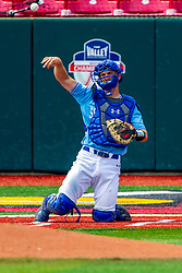 25 May 2019:  Max Wright catches.  Missouri Valley Conference Baseball Tournament - Dallas Baptist Patriots v Indiana State Sycamores at Duffy Bass Field in Normal IL<br /> <br /> #MVCSPORTS