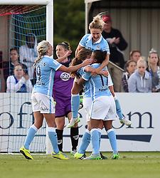 Manchester City Women players celebrate Daphne Corboz's goal - Photo mandatory by-line: Paul Knight/JMP - Mobile: 07966 386802 - 18/07/2015 - SPORT - Football - Bristol - Stoke Gifford Stadium - Bristol Academy Women v Manchester City Women - FA Women's Super League