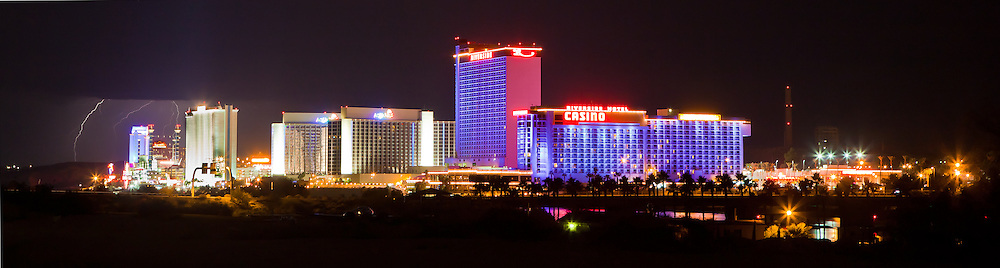 Lighting strikes the Harrah's Casino at the South end of Casino Row in Laughlin, Nevada.