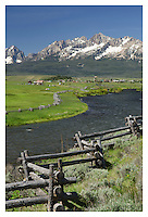 Sawtooth Mountains and Salmon River idaho