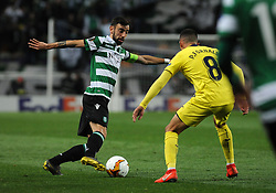 February 14, 2019 - Na - Lisbon, 02/14/2019 - Sporting Clube de Portugal received the Villarreal Club de Fútbol tonight at the Estádio de Alvalade in the first leg of the 16-game Europa League 2018/2019. Bruno Fernandes  (Credit Image: © Atlantico Press via ZUMA Wire)
