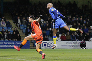 GOAL 2-2 Gillingham midfielder Josh Parker (14) heads in the equaliser during the EFL Sky Bet League 1 match between Gillingham and Wycombe Wanderers at the MEMS Priestfield Stadium, Gillingham, England on 15 December 2018.