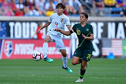 August 2, 2018 - Bridgeview, IL, U.S. - BRIDGEVIEW, IL - AUGUST 02: Japan defender Shiori Miyake (4) clears the ball against Australia forward Sam Kerr (2) during the 2018 Tournament Of Nations at Toyota Park on August 2, 2018 in Bridgeview, Illinois (Photo by Quinn Harris/Icon Sportswire) (Credit Image: © Quinn Harris/Icon SMI via ZUMA Press)