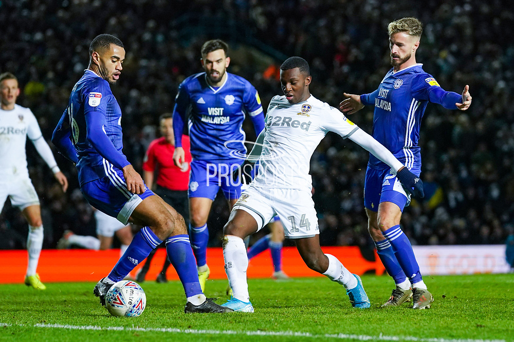 Leeds United forward Eddie Nketiah (14) takes a shot during the EFL Sky Bet Championship match between Leeds United and Cardiff City at Elland Road, Leeds, England on 14 December 2019.