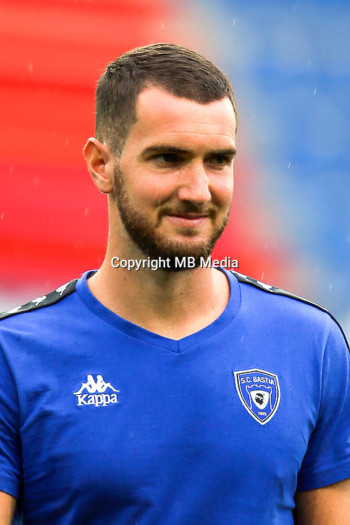 Mathieu Peybernes of Bastia during the French Ligue 1 match between SM Caen an Bastia at Stade Michel D'Ornano on August 27, 2016 in Caen, France. (Photo by Vincent Michel/Icon Sport)
