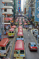 Chine, Hong Kong, Kowloon, Mongkok, transport en commun // China, Hong Kong, Kowloon, Mongkok, local buses