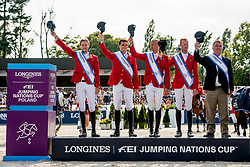 Winning Belgium team, Olivier Philippaerts,Pieter Devos,Jerome Guery,Niels Bruynseels and Chef d'Equipe, Peter Weinberg.<br /> Photo FEI/Łukasz Kowalski