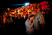 Jennifer O'Neil and Jamie Taylor cuddle near the conclusion of a Rascal Flatts concert - the final event ever at the 5,500-seat Konocti Harbor amphitheater. After 50 years as Kelseyville's premier resort and blue-collar playground, Konocti Harbor closed its doors in November 2009 because a buyer could not be found, ending an era in Lake County entertainment and leaving an estimated 1,000 locals out of work in a region that already suffered from 15% unemployment. Taylor, who worked at the resort for five years, said, &quot;We're really gonna miss this place. I've lived here for 28 years and have been coming here as long as I can remember.&quot; <br />