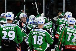 Team HDD Tilia Olimpija celebrate victory 4:3 during ice-hockey match between HDD Tilia Olimpija and HK Acroni Jesenice in 3rd Round of EBEL league, on September 16, 2011 at Hala Tivoli, Ljubljana, Slovenia. (Photo By Matic Klansek Velej / Sportida)