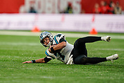 Carolina Panthers Quarterback Kyle Allen (7) slides on the turf during the International Series match between Tampa Bay Buccaneers and Carolina Panthers at Tottenham Hotspur Stadium, London, United Kingdom on 13 October 2019.